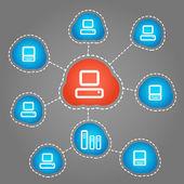 Computer communication scheme. Social media — Stock Vector
