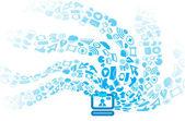 Modern social media icons flows to computer — Stock Vector