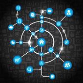 Modern social media abstract scheme — Stok Vektör