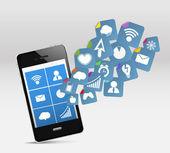 Modern cep telefonu ve sosyal medya — Stok Vektör