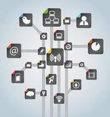 Modern social media abstract scheme — Stock Vector