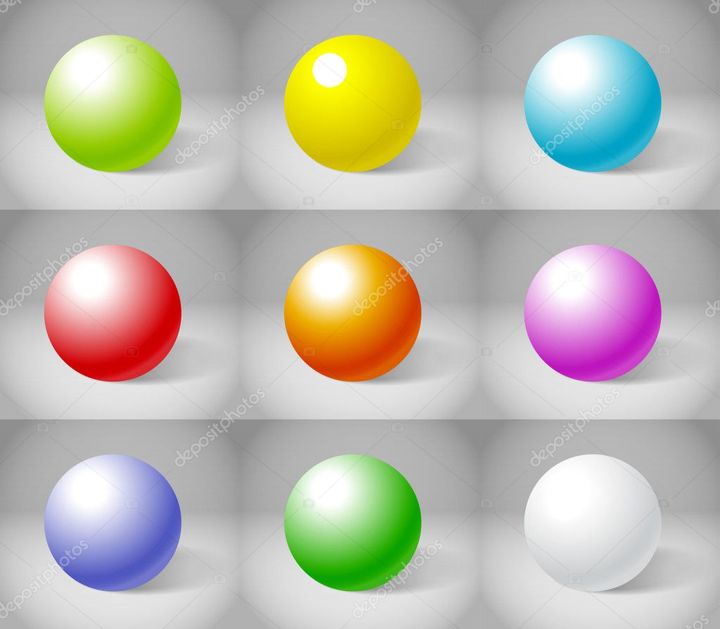 Nine color plaster spheres collection — Stock Vector #10330058