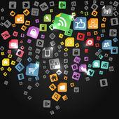 Modern social abstract media icons falling down — Stock Vector