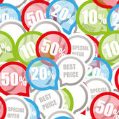 Color Discount labels seamless background — Stok Vektör