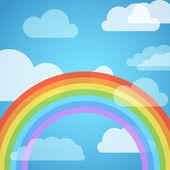 Transparente arco iris en el cielo con nubes blancas — Vector de stock