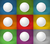White sphere on different color backgrounds — 图库矢量图片