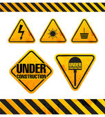 Grunge danger signs collection isolated on white — Stock Vector