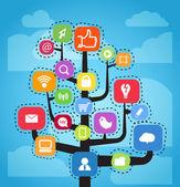 Schéma abstrait moderne de médias sociaux — Vecteur