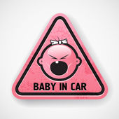 Car decal with the screamong baby`s face — Cтоковый вектор