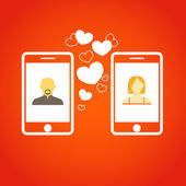 Two lovers communicatitng with the mobile phones. Abstract illus — Stock Vector