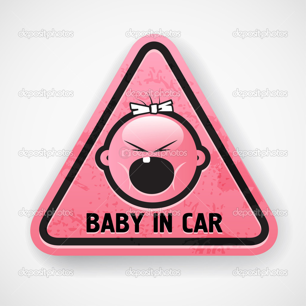 Car decal with the screamong baby`s face  Stock Vector #10539152