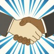 Illustration of two businessmen shaking hands. Good deal — Stock Vector