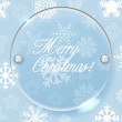 Stockvector : Circle glass board and christmas background of snowflakes
