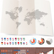 World map on old map and flags of different countries — Stock Vector #8012866
