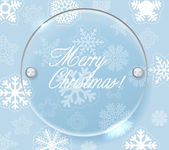 Circle glass board and christmas background of snowflakes — Stock vektor