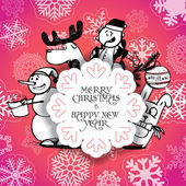 Red Christmas greeting card with Christmas persons — Stock Vector