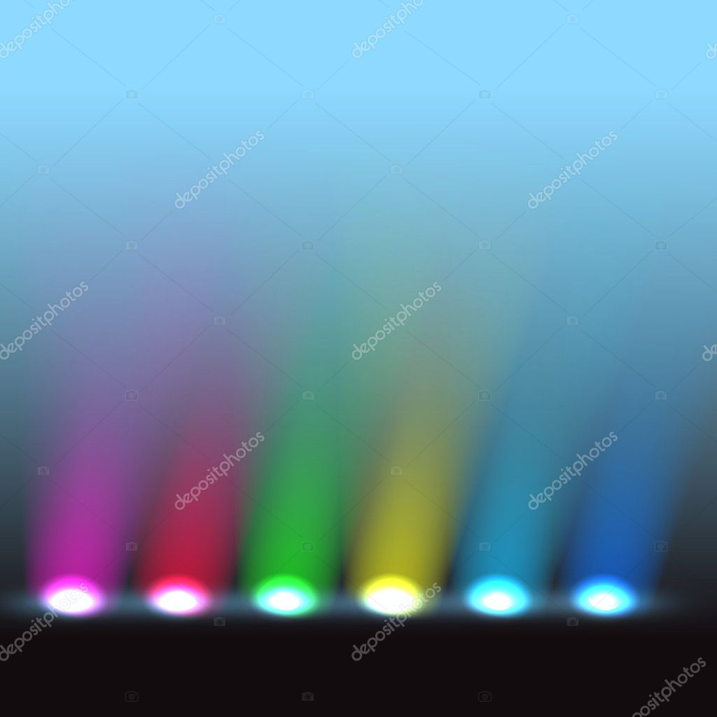 Illuminated stage with different colors lights  Stock Vector #8012776