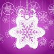 Violet Christmas greeting card with white snowflake - Grafika wektorowa