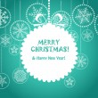 Green Christmas greeting card with white christmas toy - Imagen vectorial