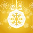 Yellow Christmas greeting card with white christmas toy - Imagen vectorial