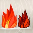 Stained glass style fire set - Stock Vector
