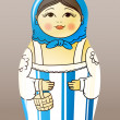 Traditional hand-drawn painted varnished wood doll. Matrioska — Vettoriali Stock