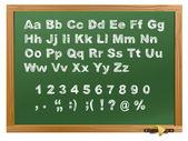 Wood school desks set and alphabet — Stock Vector
