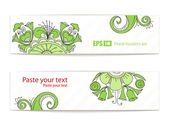 Green floral ornament vector banners. Ready for your text — Stock Vector