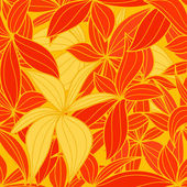 Yellow and red leaves seamless background — Stock Vector
