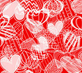Seamless background of hearts on red — Stock Vector