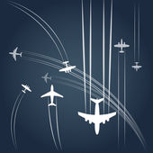 Airplanes paths — Stock Vector