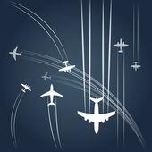 Rutas de los aviones — Vector de stock