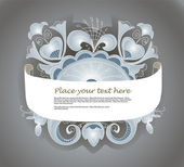 Fantastic style silver ornamented banner — Stock Vector