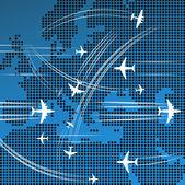 Letadla letící nad abstraktní mapa evropy — Stock vektor