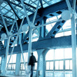 Long hall in airport — Stock Photo