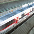 Stock Photo: Modern speed train on way. top view