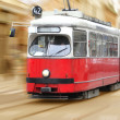 Vintage city tram on moving — Stock Photo