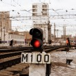 Signal of semaphore on railroad — Stock Photo