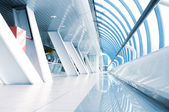Long corridor in airport — Stock Photo