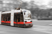 Modern city tram on moving — Stock Photo