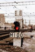 Semafor demiryolu sinyali — Stok fotoğraf