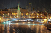 Moscow kremlin. night view. X-cross effect — Stock Photo