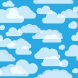 Clouds on green-blue sky. seamless background — Stock Vector