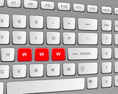 "Keyboard with three red buttons ""w"" — Stock Vector"