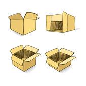 Cardboard hand-drawn vector set — Stock Vector