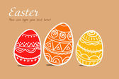 Three easter painted eggs on brown — Stock Vector