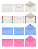 Colored envelopes set. Front and back sides. Open and closed — Stok Vektör