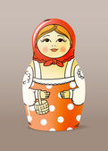 Traditional hand-drawn painted varnished wood doll. Matrioska — Stockvector