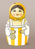 Traditional hand-drawn painted varnished wood doll. Matrioska — Vettoriale Stock
