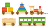 Wooden color toys. Pyramid, train, cubes. — Stock Vector